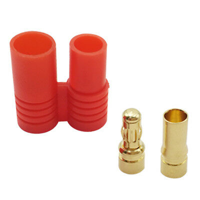 3.5mm Gold Bullet Banana Connector Plug Protective Sleeve Male Female For RC Red