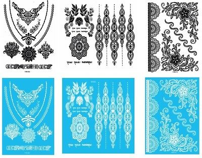 6 Sheets Sexy Women's Black & White Henna Tattoo Temporary Lace Tattoos G/2WB