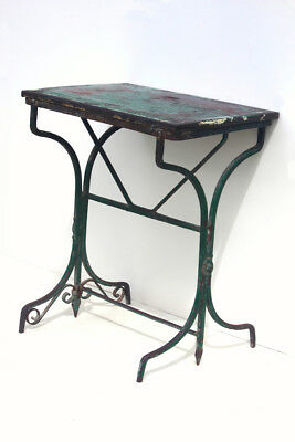 Original Antique French Steel Table with Original Paint Garden Potting Table