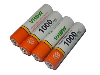 4x vhbw Longlife Akku 1000mAh Ready 2 Use AAA Micro R3 HR03 inkl Transport Box