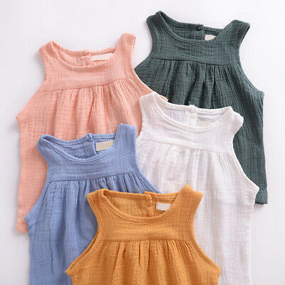 Kid Baby New Fashion Casual Solid Color Sleeveless Solid Color Round Neck Tops