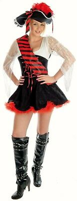Womens Sexy Flirty Pirate Shipmate Hat outfit fancy dress costume Ladies 16 18