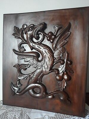Antique Hand Carved Wood Panel  Large Griffin  Dragon