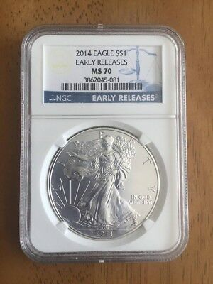 2014 American Silver Eagle Coin Early Release NGC MS70 - 1 troy oz .999 fine
