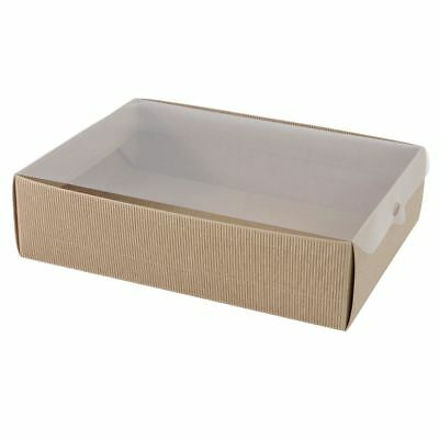 Rectangle Kraft Fluted Cake Muffin Gift cardboard Cook Box with Clear Cello Lid