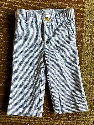 EUC Janie And Jack Baby Blue And White Pin Stripe Pants 6-12 mo