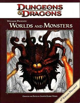 WORLDS AND MONSTERS 4TH EDITION PREVIEW EXC+! Dungeons Dragons D&D 4E Ed. 4.0