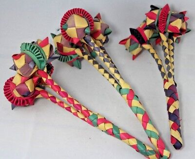 Collection of Three Vintage Colourful Woven Wood / Paper Japanese Rattles c1980s