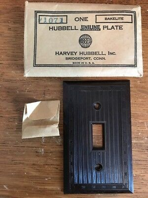 NOS Hubbell Ribbed Switch Plate Cover Toggle Light Switch Brown Deco Bakelite