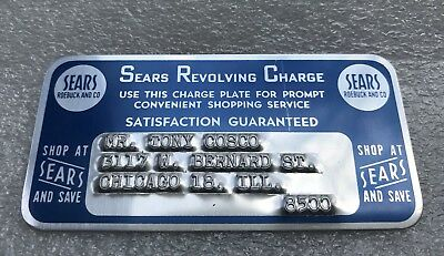 vintage 40s SEARS ROEBUCK CHARGE credit CARD revolving -Metal -Charge PLATE