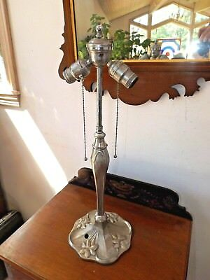 Antique 1920's Art Nouveau Nickel Plated Stained Glass Table Lamp Base 4Restore