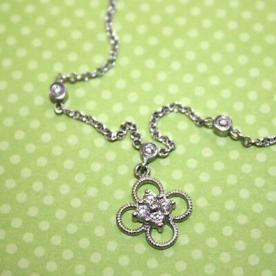 901a91383d6752 18K White Gold Cabled Floral Chain Choker Necklace Diamond Accents 15