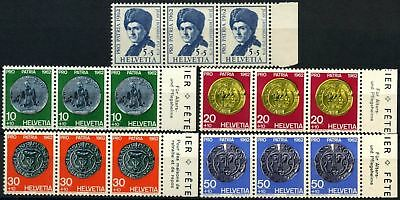 Switzerland 1962 SG#663-667 Pro Patria Coins MNH Strips Of 3 Set #D70891