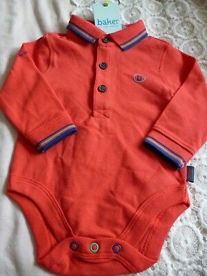 d6fd836f72ed Ted Baker Baby Boys Polo Long Sleeve Bodysuit Romper Red Age 3- 6 Months.