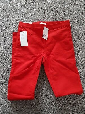 h and m ladies pants leggings trousers red jeggings bnwt size 8