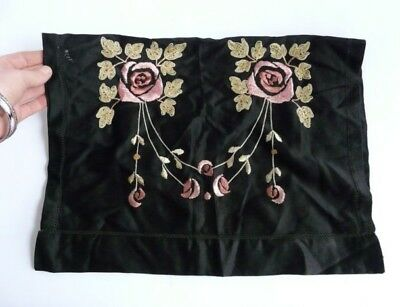 Art Nouveau hand embroidered silk/satin panel pink roses- beautiful