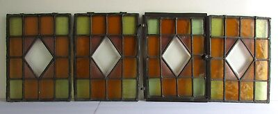 Set of 4 Antique Hand Beveled Leaded Stained Glass Transom Windows Brass Frames