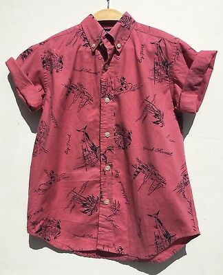 Boys Vintage 90s Ralph Lauren Faded Pink Red Nautical Summer Print Shirt Age 6
