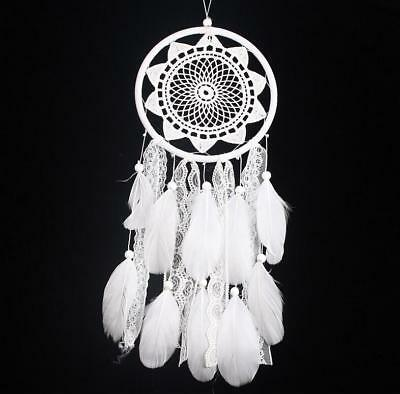 Handmade White Dream Catcher Lace Feathers Wall Hanging Decoration Ornament Gift