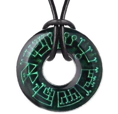 Angel Ring Occult Pendant 7 Planetary Archangels Seals Green Alchemy Gothic N203