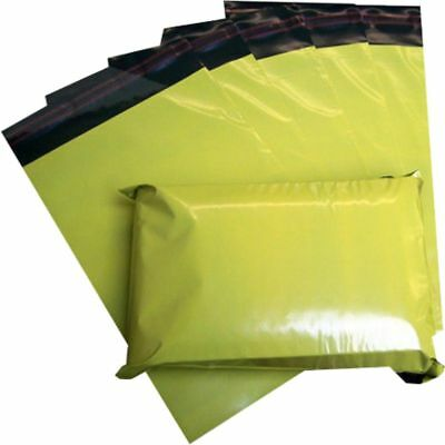"""100 Yellow Plastic Mailing Bags Size 14x20"""" Mail Postal Post Postage Self Seal"""