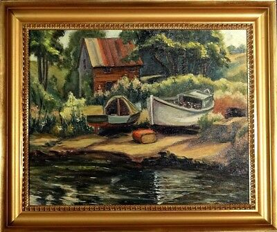 Superb ca.1960 Boats Docked near River & House Painting Oil/Canvas/Frame Signed