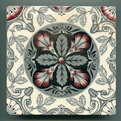 """Transfer printed Victorian 6"""" square tile by Smith Ford & Jones, 1889"""