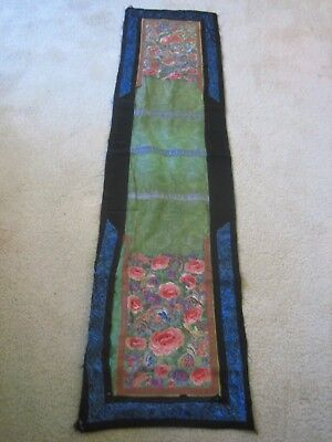 Antique Chinese Qing Silk Embroidery Altar Cloth Wall Textile Floral Butterflies