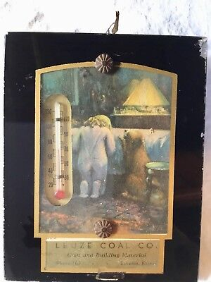 Vintage Advertising Thermometer Leuze Coal Co. Sabetha, Ks Reverse Painted Glass
