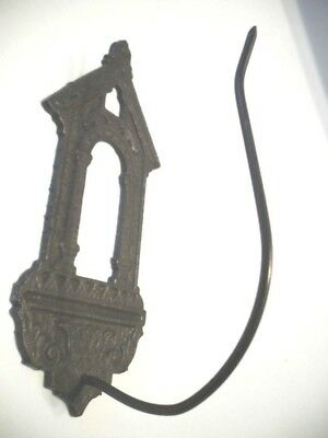 Vtg Antique Brass Plated Metal HOOK Front Door Keyhole Ornate Hat / Coat / Belt