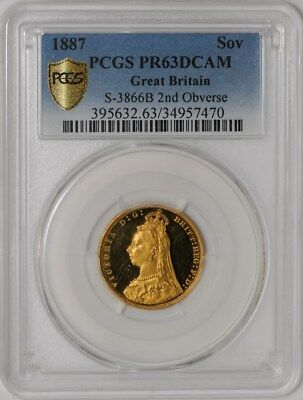 1887  Great Britain Gold Sovereign 2nd Obv S-3866B PR63 DCAM Secure Plus PCGS