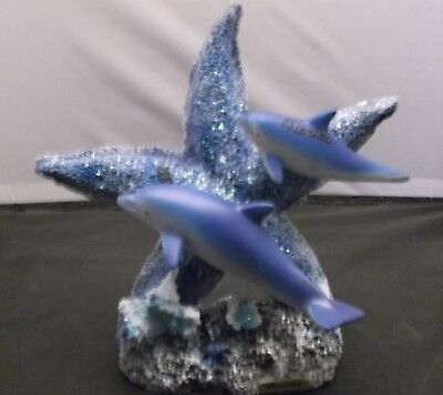Resin double Dolphin Figurine and Star Fish Statue Coral Stand Size 8 x 8 x 3""