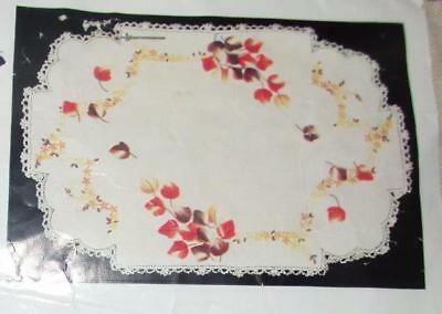 "NEW MYART MY ART UNWORKED ""FALLING LEAVES"" DOILY 12"" X 18"" to EMBROIDER # 1359"