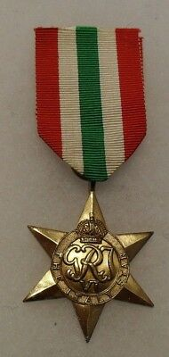 Wwii British The Italian Star For Service In Italy With Ribbon