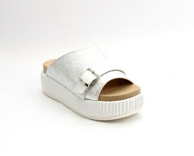 f71a8a34dbbf Donna Piu 53044a Silver White Leather Platform Wedge Slides Sandal 39   US 9