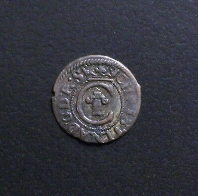 Livonia -- Silver Solidus (Occupied Riga) KM-21 (16)35? F Christina of Sweden
