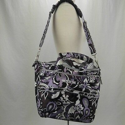 JuJuBe Large Purple Paisley Diaper Bag with Changing Pad Discontinued Pattern