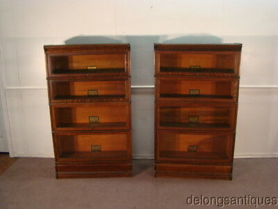 49054 Globe Werncke Pair of Early 1900's Barrister Quarter Sawn Oak Bookcases