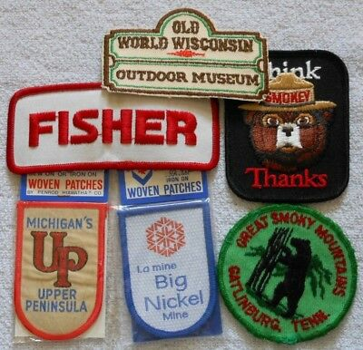 Embroidered Sew-On Patches - Great Smoky Mts, Up Mich, Fisher & More