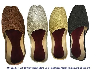 UK Size 6/7/8/9/10 New Indian Mens Handmade Mojari Khussa Jutti Shoes_UK FREEP&P
