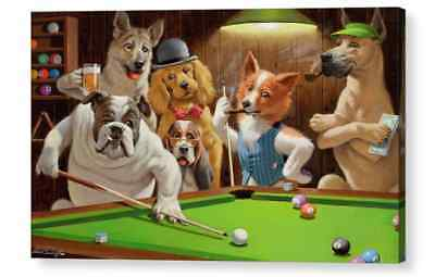 Dogs Playing Pool by Arthur Sarnoff Famous Canvas/ Photo / Fine Art Print