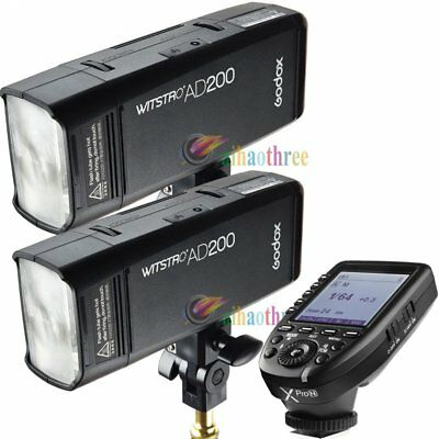 2Pcs Godox AD200 TTL HSS 1/8000s Pocket Flash Strobe + Xpro-N Trigger For Nikon
