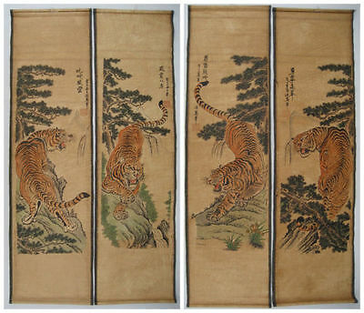 Chinese painting scroll Tiger Jiang Tingxi 4 tigers Antique paintingses