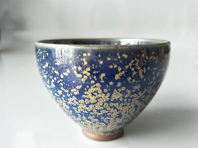 Chinese Blue Oil galze Cup hand made CHAWAN TEA CUP BOWL signed JUN KILN