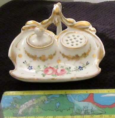 """VINTAGE CERAMIC DOUBLE INKWELL W/LIDS-FLORAL/GOLD DESIGN  5x5"""" VGC"""