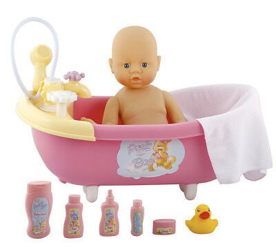Baby Doll in Bath Tub Working Shower Tap Rubber Duck Towel Dummy & More