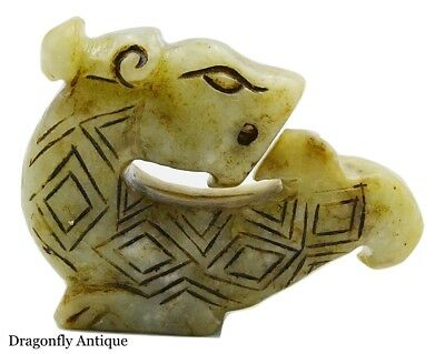 Chinese Jade Han Dynasty Carved Toggle Hardstone Mythical Beast RARE
