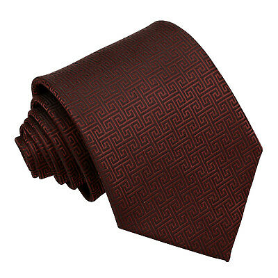 DQT Woven Greek Key Patterned Burgundy Formal Wedding Mens Classic Tie