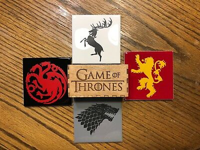 GAME OF THRONES Handmade PREMIUM Ceramic Laser Etched  Coasters w/wood holder