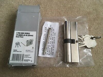 Smith & Locke 5 Pin EURO Double Cylinder Lock 45-50 (95mm) Nickel Plated